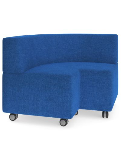 Showtime Corner Square Ottoman with Back - In Curved Modular Lounge