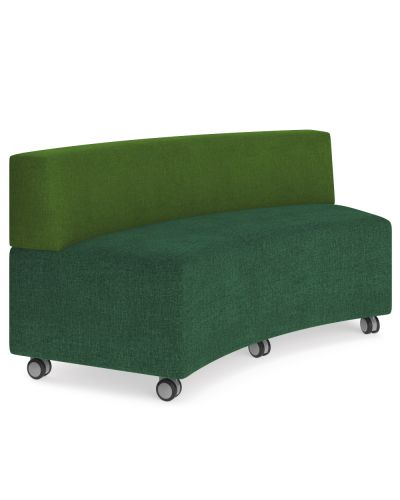 Showtime Curved Ottoman with Back - In Curved Modular Lounge