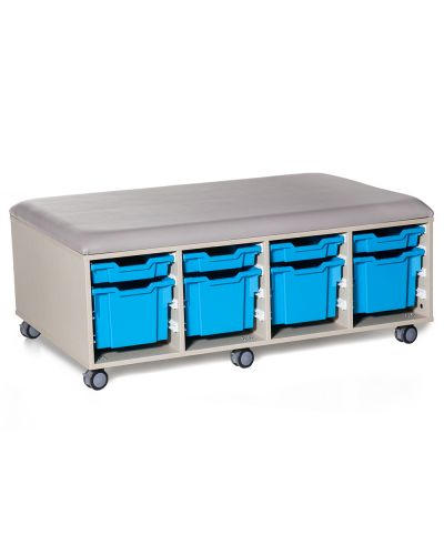 Cookie Fireball Mobile Classroom Storage Ottoman - Trays As Shown