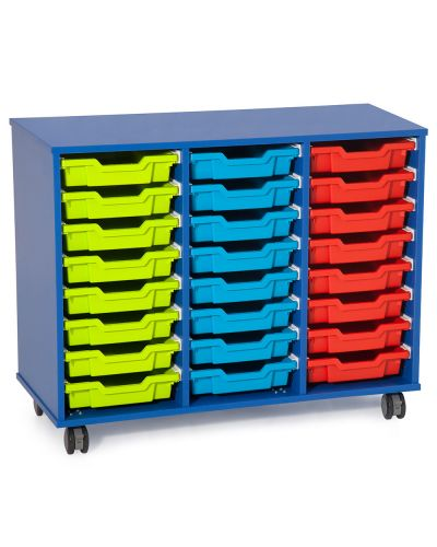 Fireball Mobile Classroom Storage 3 Column - 24 Trays