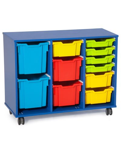 Fireball Mobile Classroom Storage 3 Column - Trays as shown