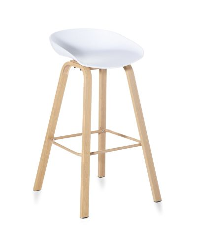 Tromso Bar Stool - Powdercoat Timber-look Frame